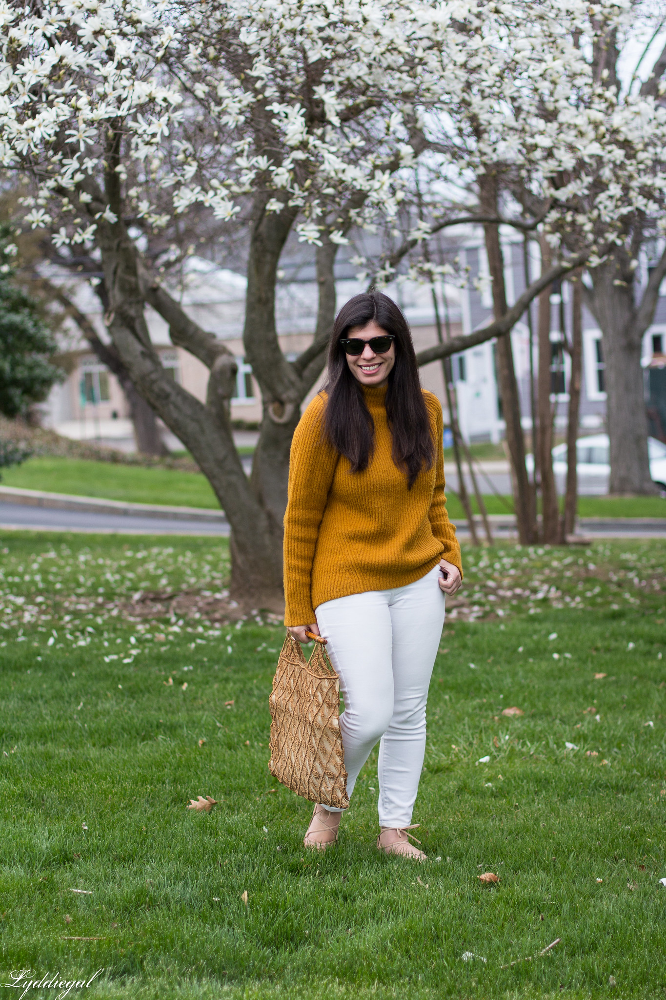 Rust orange sweater, white denim, vintage macrame bag-1.jpg