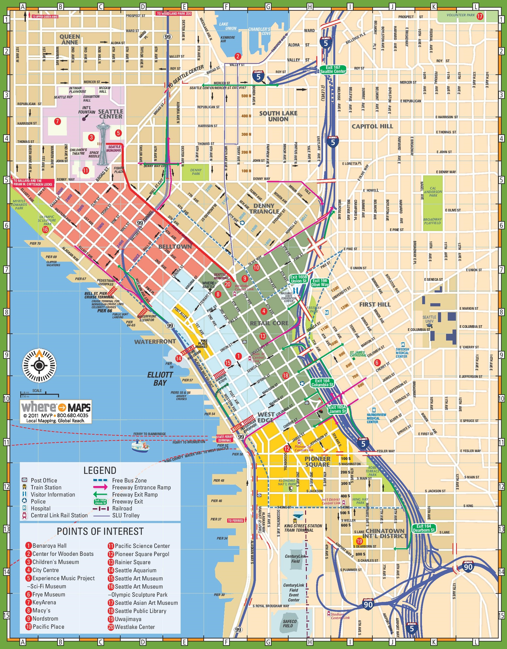 Tourist map of Seattle, Washington, showing location of Seattle Center and the Space Needle