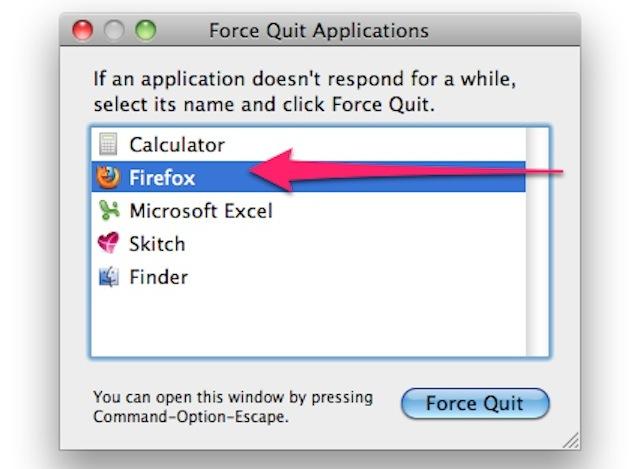 tắt ứng dụng bị treo trong macOS
