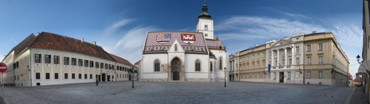 Panorama of St. Mark's Square in Zagreb, Croatia. Left to right: Banski dvori official residence of the Croatian Government, St. Mark's Church and Croatian Parliament.