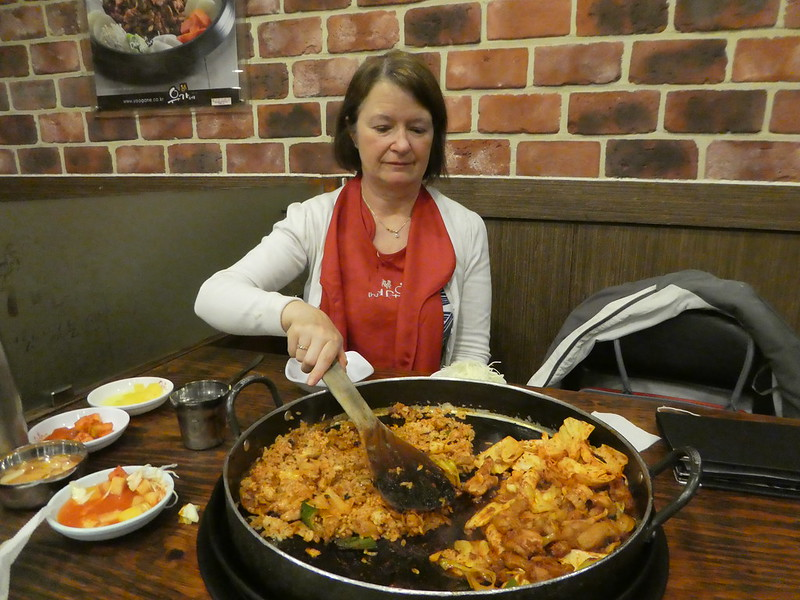 Chicken Galbi in a restaurant in Seoul