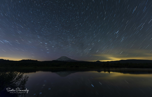 Night Sky at Trout Lake (Mt Adams reflecting in the lake)