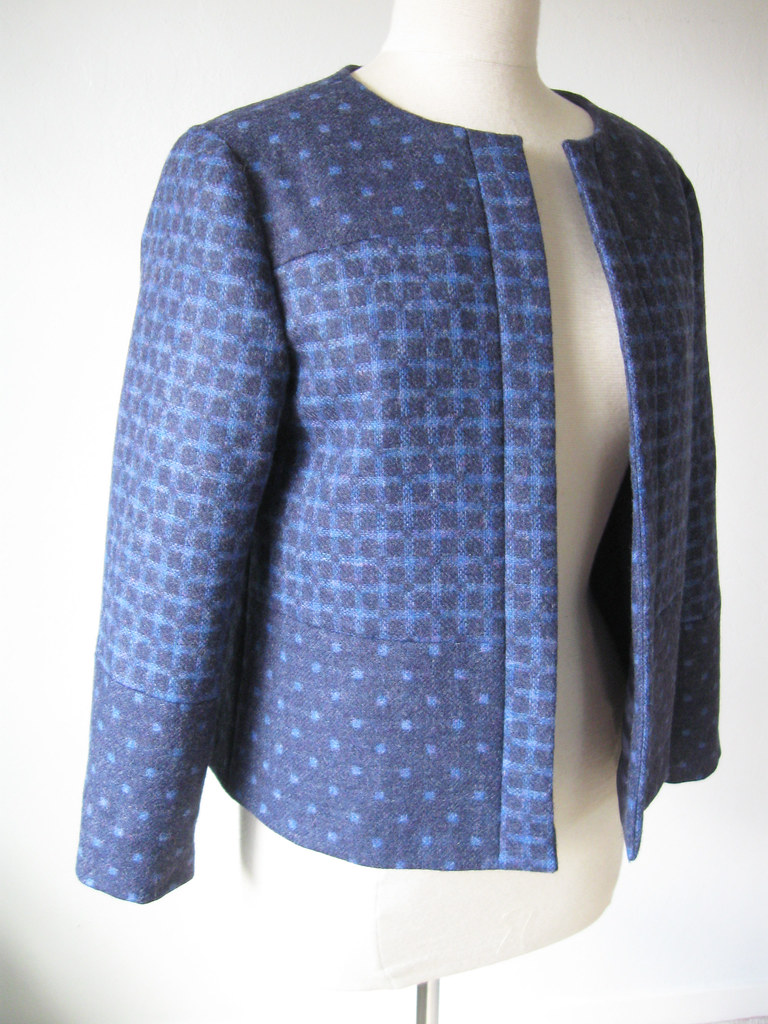 Front angle view blue 2side jacket