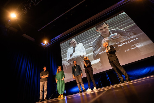CE18 – opening ceremony // Edoardo Winspeare (TRIBUTE guest), Ada Solomon (SPOTLIGHT guest), Merab Ninidze (lead actor in MY HAPPY FAMILY, UNDER ELECTRIC CLOUDS, PAPER SOLDIER , HOMELAND,…), Christine Dollhofer (Festival Director), Neil Young (Moderator)