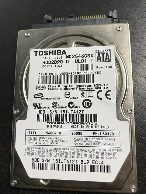 Toshiba 250G Hard Disk