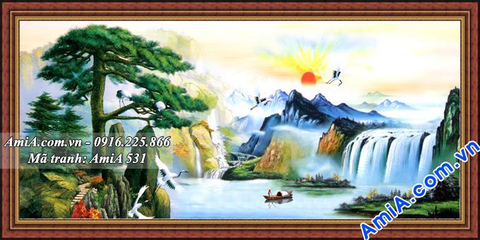 Tranh đẹp phong cảnh sông hồ thác nước Trung Quốc