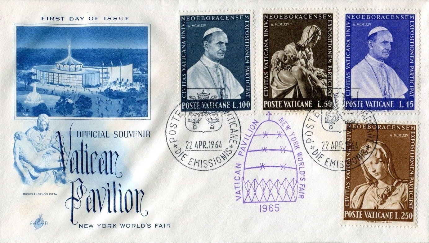 Vatican City - Scott #383-386 (1964) - first day cover purchased at the Vatican Pavilion at the New York World's Fair bearing the complete set of Vatican City stamps issued for the 1964-1965 fair. Pope Paul VI is featured on the 15- and 100-lira stamps, Michelangelo's Pietà is portrayed on the 50-lira denomination and the 250-lira value depicts the youthful version of the Virgin Mary from the Pietà.