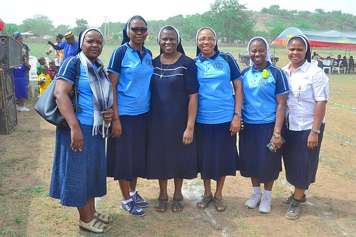 Sisters pictured at the biennial inter-house sports competition at St Joseph's Nursery and Primary School, Iseyin