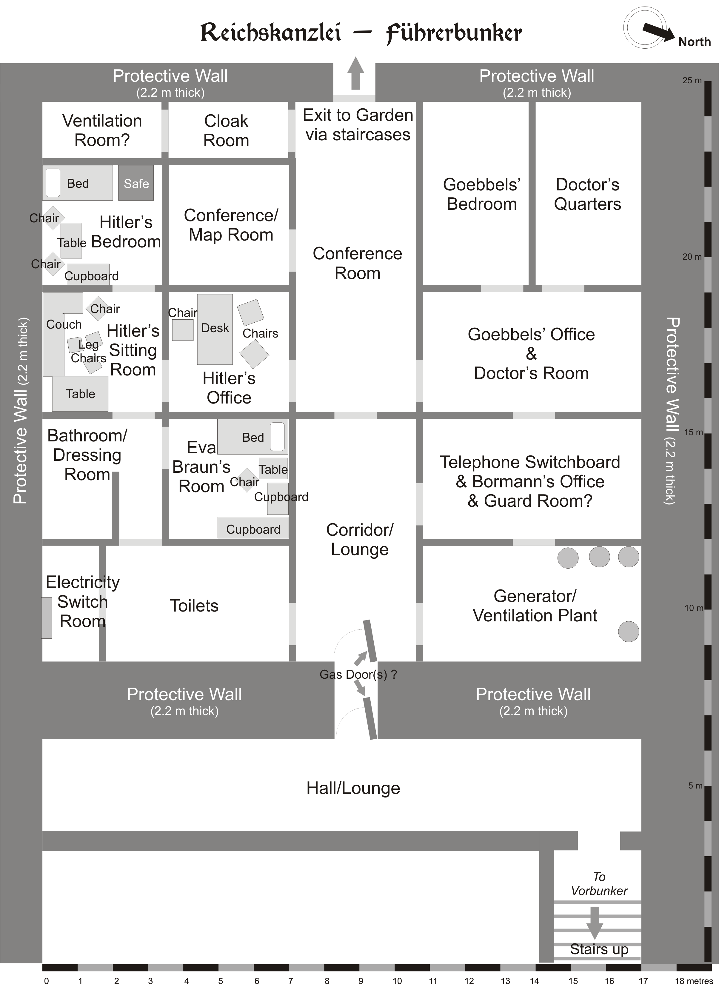 Plan of the lower section of the Führerbunker.