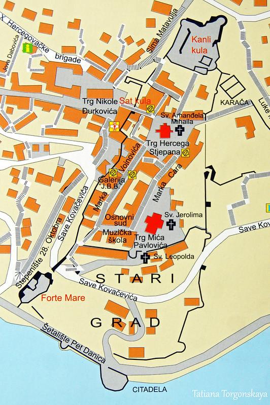 Туристическая карта Старого города Херцег Нови