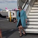 British PM Theresa May arrives at Sofia Airport ahead of the EU - Western Balkans Summit