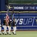 Sailors parade the colors at a Tampa Bay Rays baseball game.