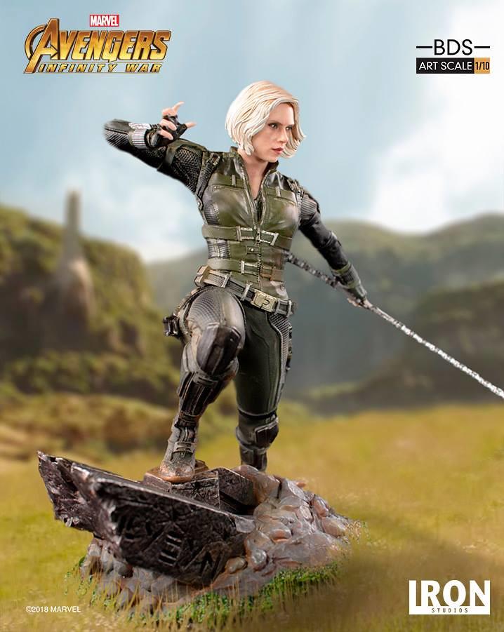 手持長棍太有魄力啦~~ Iron Studios Battle Diorama 系列《復仇者聯盟3:無限之戰》黑寡婦 Black Widow 1/10 比例決鬥場景雕像作品