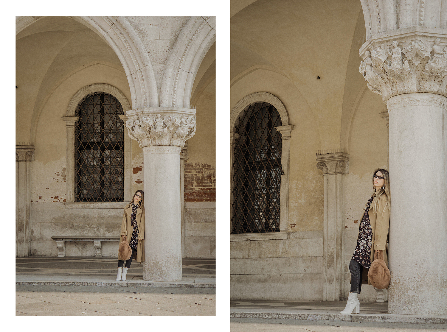 trench_coat_white_boots_dress_with_jeans_venice_italy_fur_bag_fashion_lenajuice_thewhiteocean_04