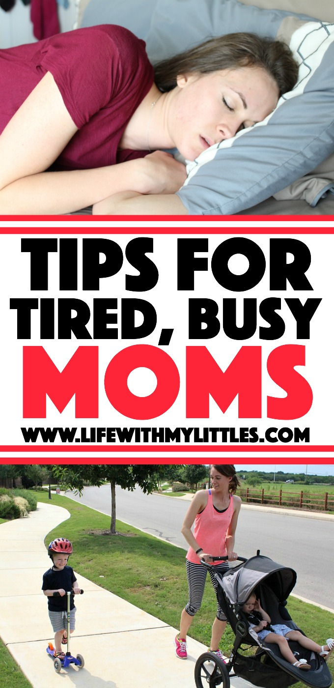 Tips for tired moms from a busy, tired mom of three. Tips to help moms get more energy when they are struggling to get through the day!