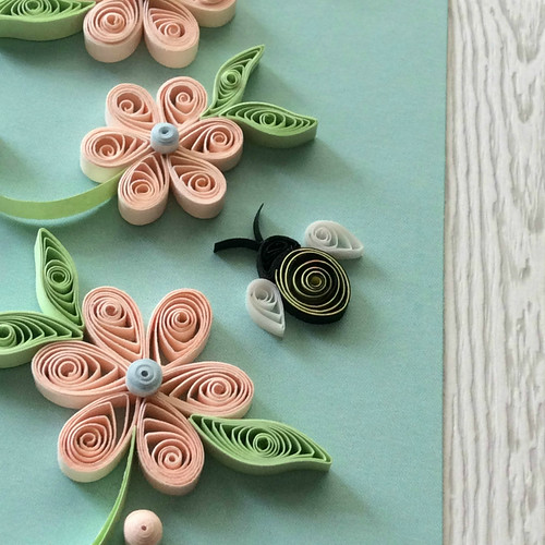 Quilled Bee and Peach Blossoms Card