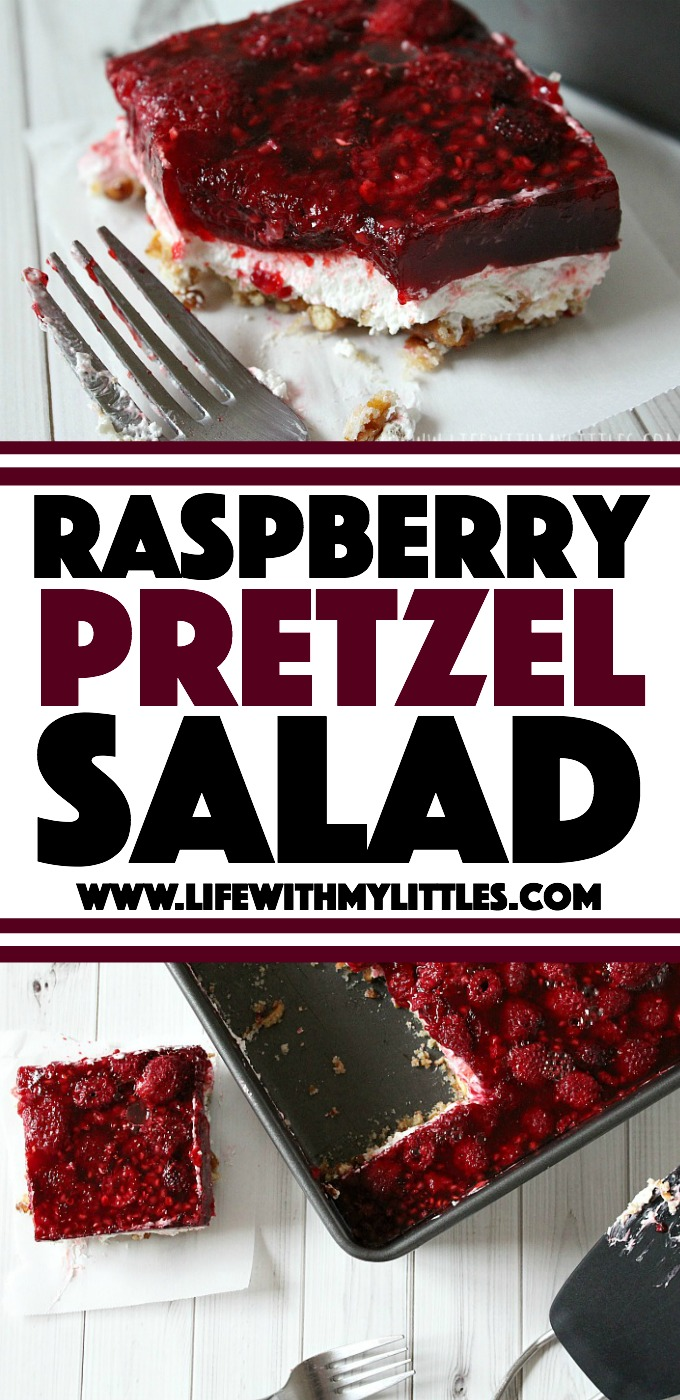 This raspberry pretzel salad dessert is the perfect Christmas dessert for any gathering or party! It's sweet and salty, crunchy and creamy, and basically everything you've ever wanted in a dessert! Plus it's super easy!