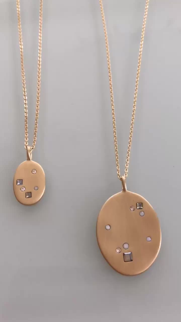 LOFT Crystal Disc Pendant Layering Necklace Set