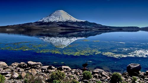 chile lake snowmountain