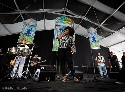 Glenn David Andrews and the Tremendous Choir in the WWOZ Jazz Tent on Friday, May 3, 2018. Photo by Keith Kujath.