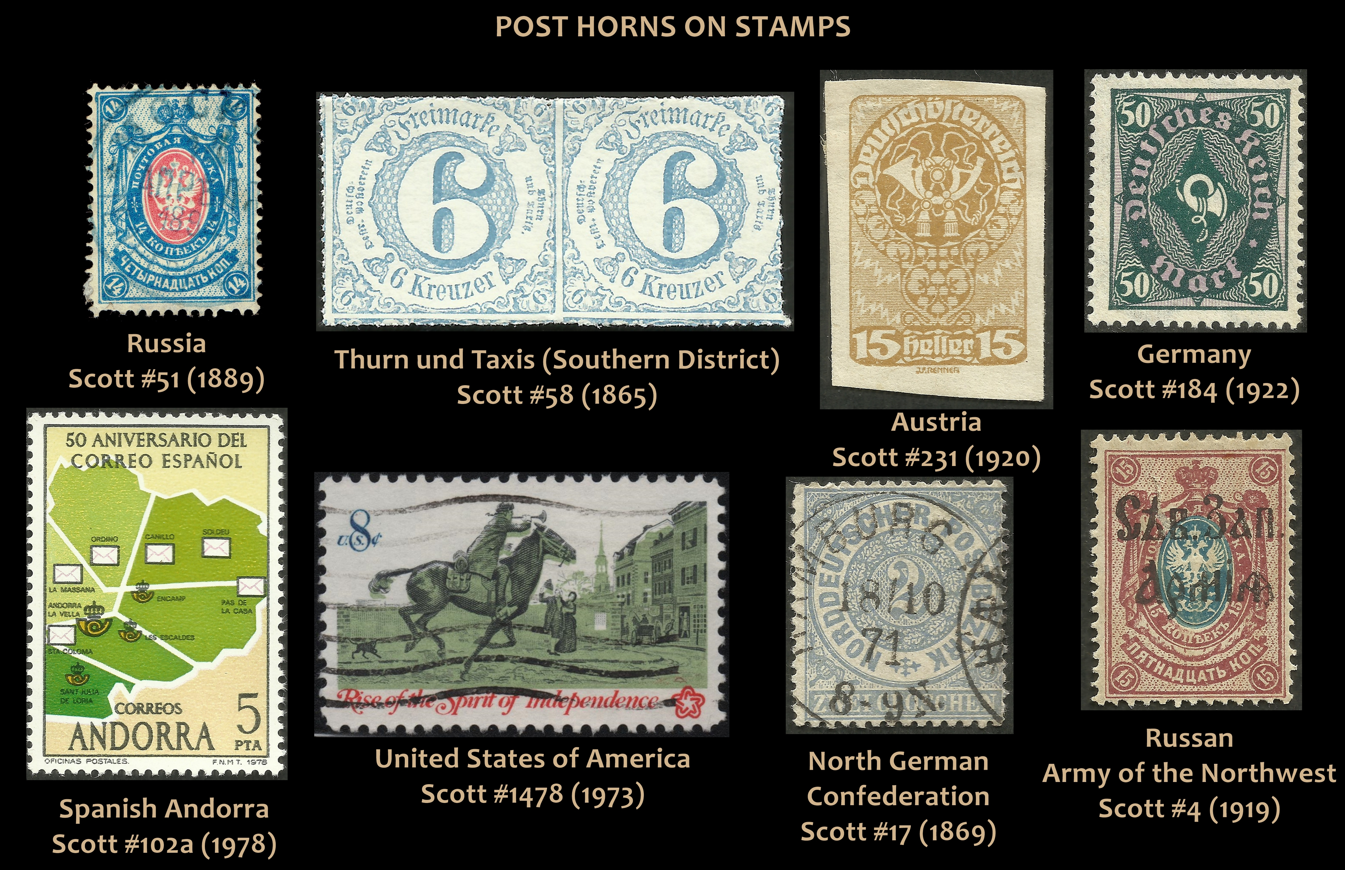 Post Horns on stamps, a very small sampling