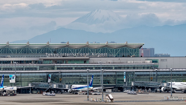 Haneda Airport International Terminal with Mt Fuji behind