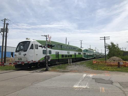 GO Train rolling through Downsview Park
