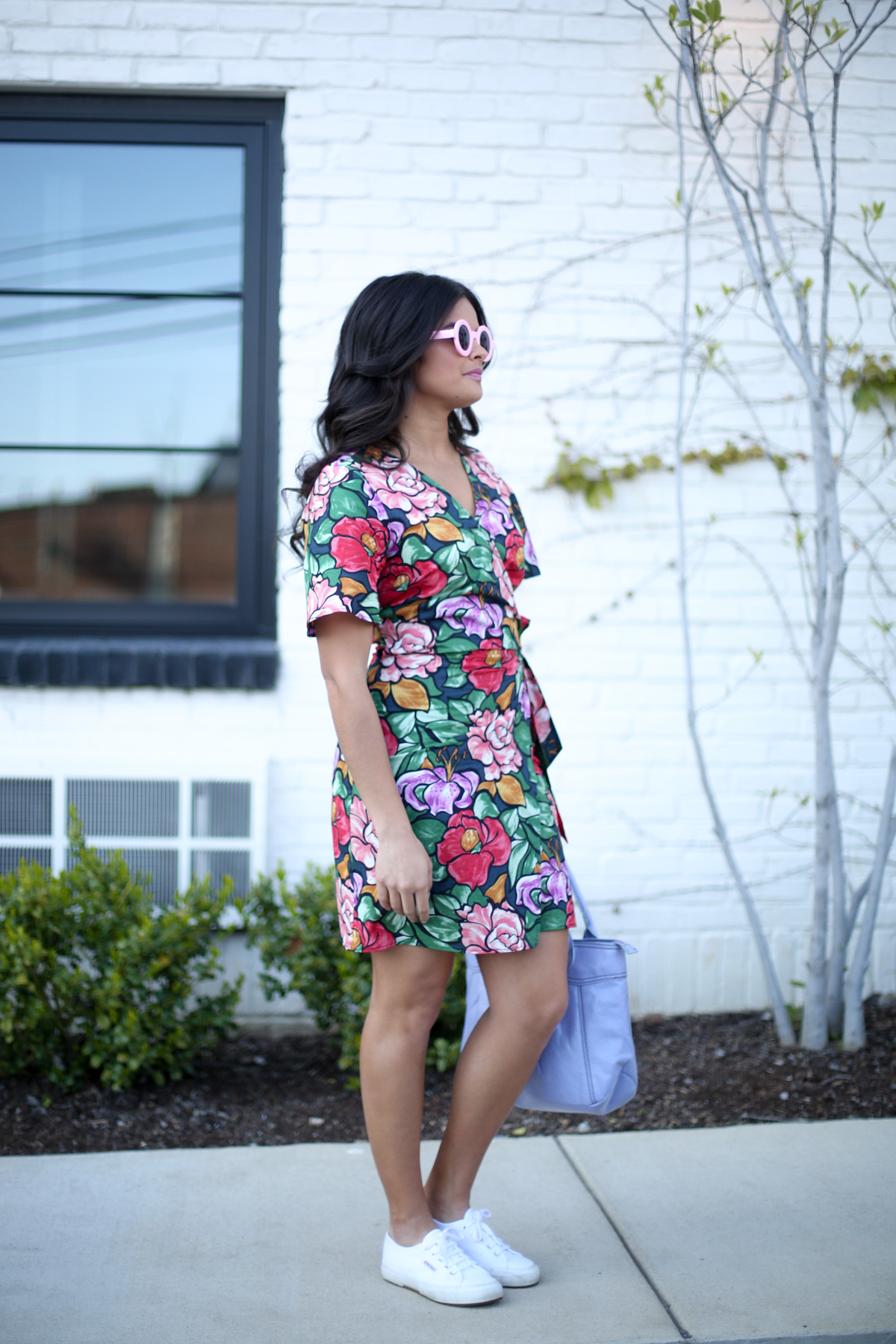 Priya the Blog, Nashville fashion blog, Nashville fashion blogger, Zara floral wrap dress, fuzzy cardigan, Superga trainers, Spring outfit with floral wrap dress, how to wear a fuzzy cardigan, fuzzy cardigan with floral wrap dress, ban.do pink circle sunnies