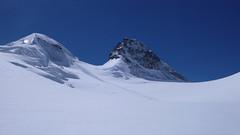Ostatni etap podejścia do schroniska Marco e Rosa 3597m., lodowcem Vadret da Morteratsch przez Buuch. Piz Aregient 3945m., Crast, Aguzza 3854m.
