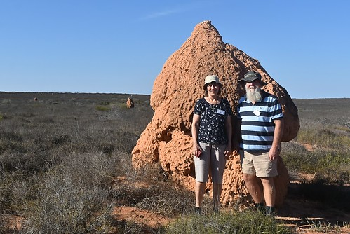 Jill and Paul Weaver with termite nest near Exmouth 10 May 2018