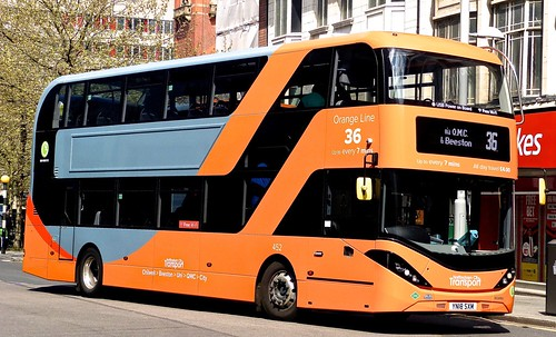 YN18 SXM 'Nottingham City Transport' No. 452 'Orange Line 36'. Scania N280UD / Alexander Dennis Ltd. Enviro 400CBG City on 'Dennis Basford's railsroadsrunways.blogspot.co.uk