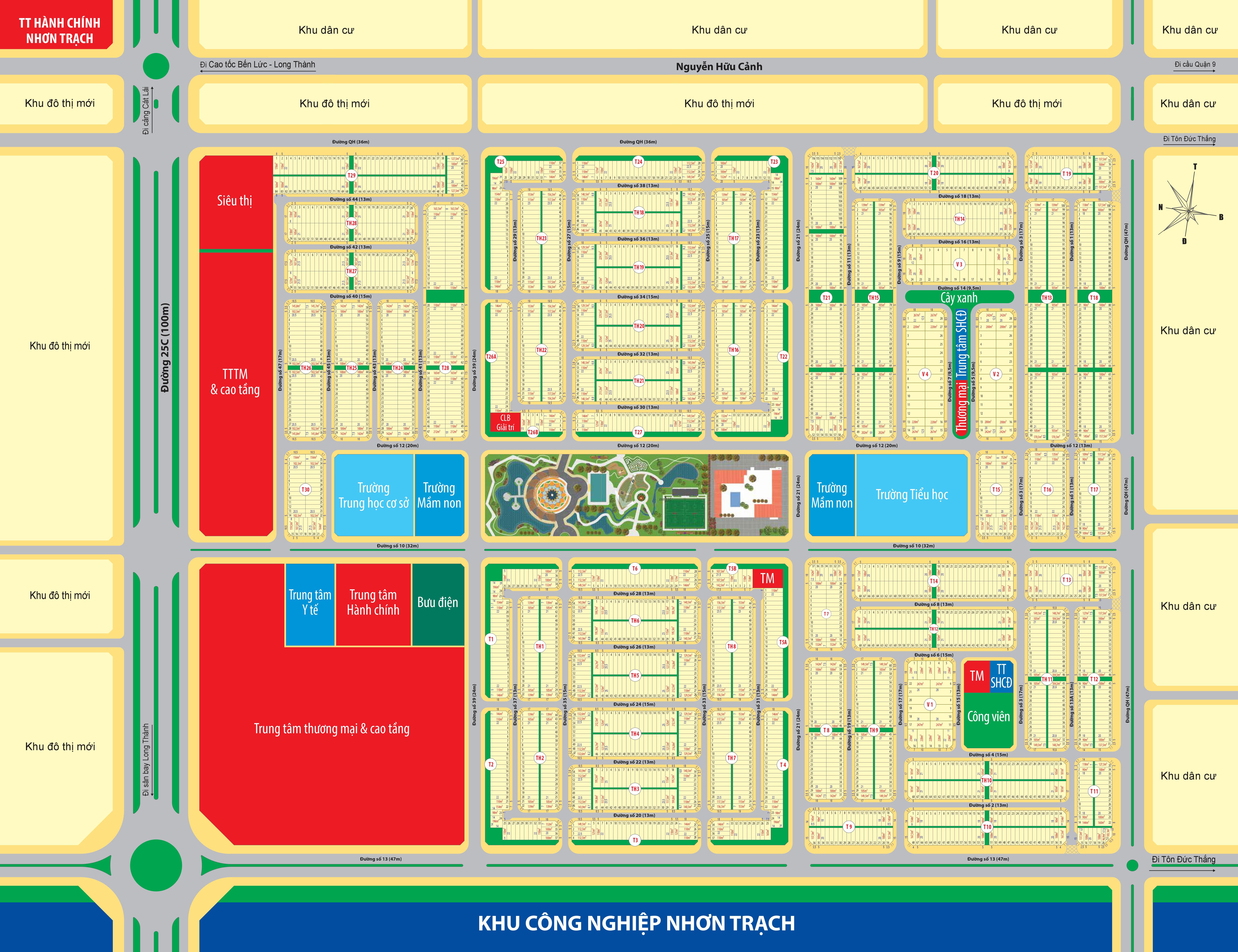 Bản đồ phân lô Khu đô thị Mega City 2 Nhơn Trạch. Rê chuột vào sơ đồ phân lô để xem lớn hơn