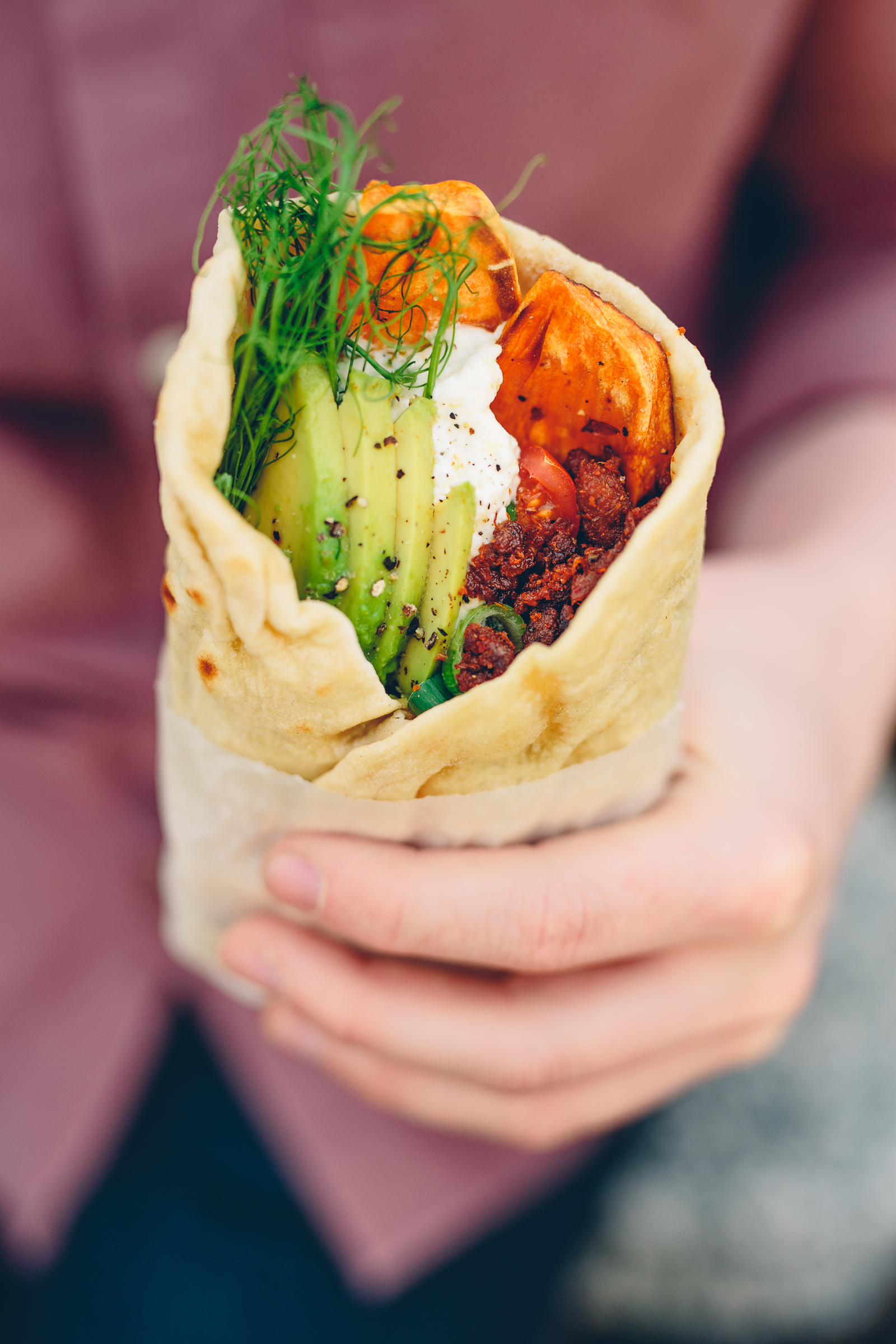 Spelt Tortillas with Tandoori Pulled Oats, Sweet Potato, Avocado & Yoghurt | Cashew Kitchen