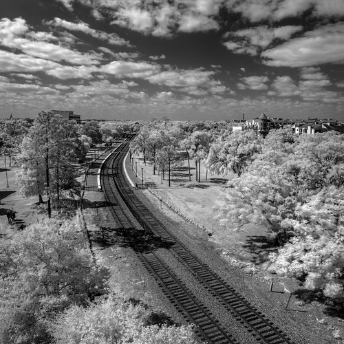 usa landscape hires tracks ©edrosack panorama florida infrared building cloud buildingandarchitecture olympus sky winterpark train blackandwhite cityscape centralflorida bw cloudy ir