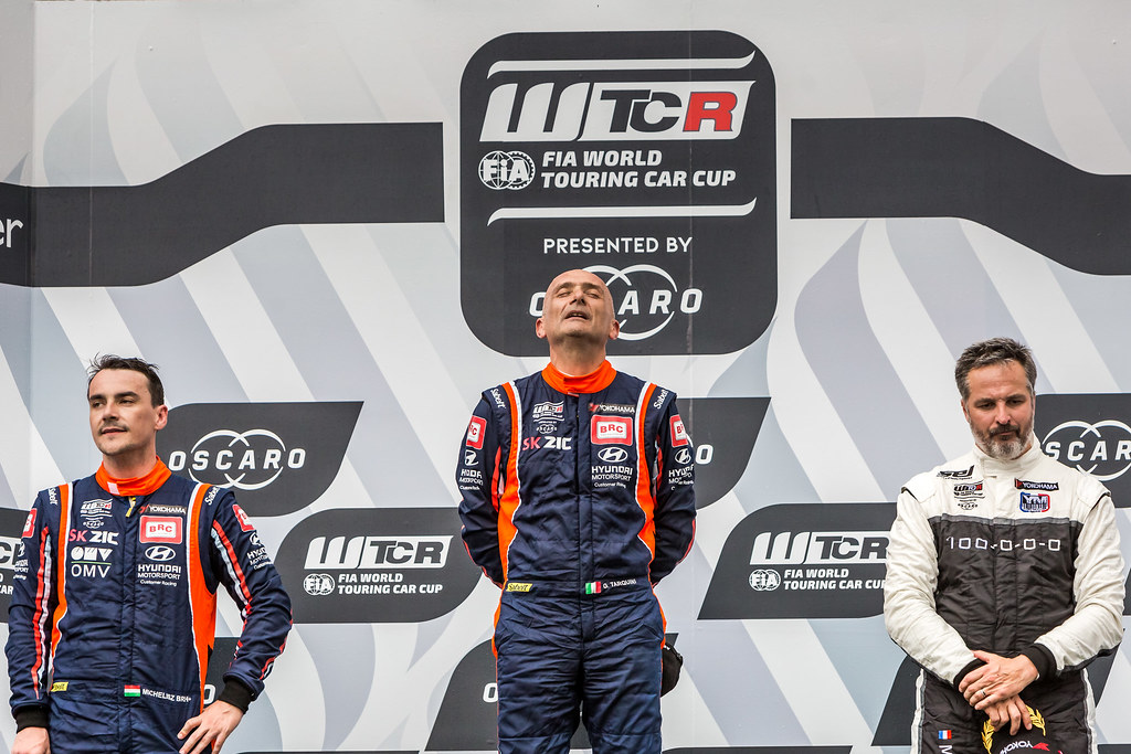 TARQUINI Gabriele (ITA), BRC Racing Team, Hyundai i30 N TCR, MICHELISZ Norbert (HUN), BRC Racing Team, Hyundai i30 N TCR, MULLER Yvan (FRA), YMR, Hyundai i30 N TCR, portrait, podium ambiance during the 2018 FIA WTCR World Touring Car cup, Race of Hungary at hungaroring, Budapest from april 27 to 29 - Photo Thomas Fenetre / DPPI