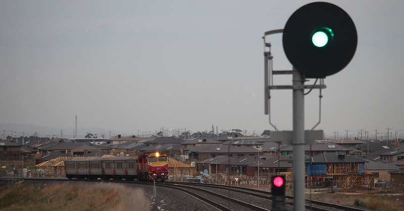 Geelong-bound train approaches Tarneit