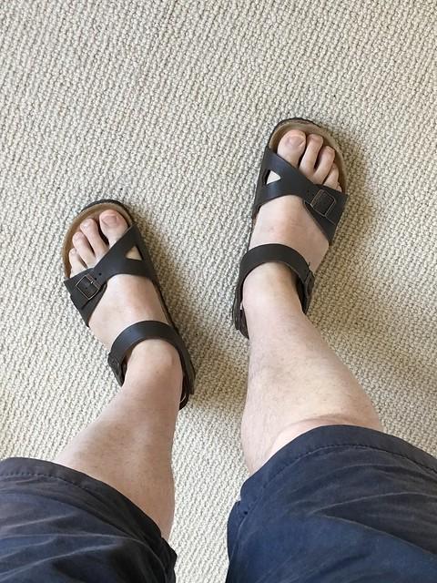 Neckermann brown footbed sandals, Apple iPad Pro, iPad Pro back camera 4.15mm f/2.2