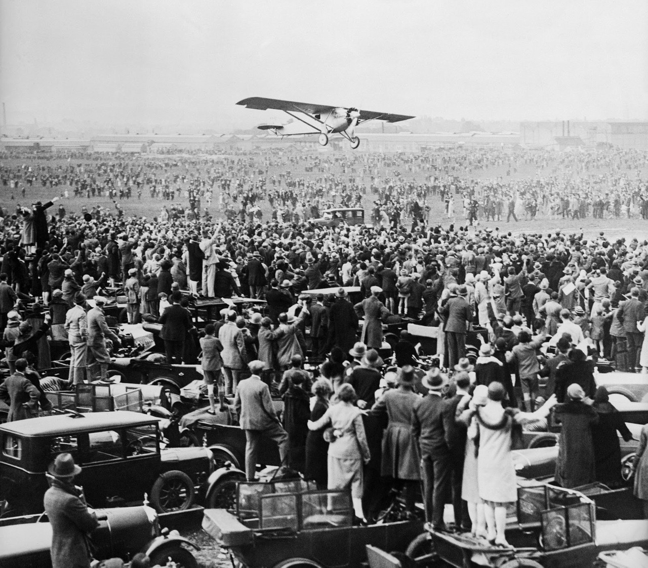 Charles Lindbergh flew Spirit of St. Louis from Brussels, Belgium, to Croydon Aerodrome, London, England, on May 29, 1927.