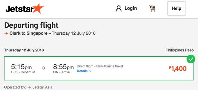 Clark to Singapore Jetstar July 12, 2018