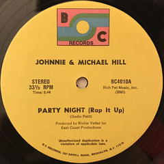 JOHNNIE & MICHAEL HILL:PARTY NIGHT(RAP IT UP)(LABEL SIDE-A)