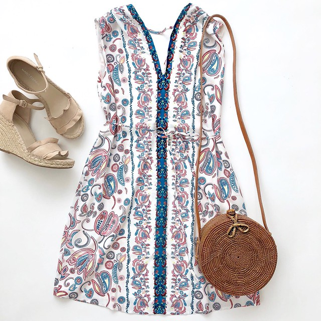 LOFT Floral Paisley Tie Waist Dress
