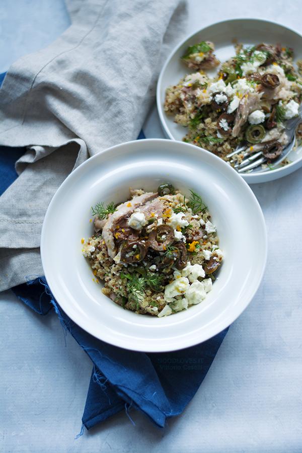 Quinoa con sgombro alla mediterranea