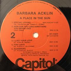 BARBARA ACKLIN:A PLACE IN THE SUN(LABEL SIDE-B)