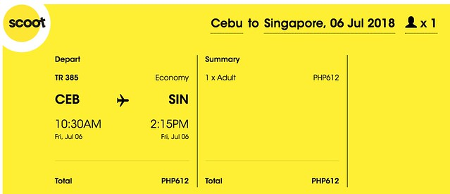Scoot Cebu to Singapore July 6, 2018
