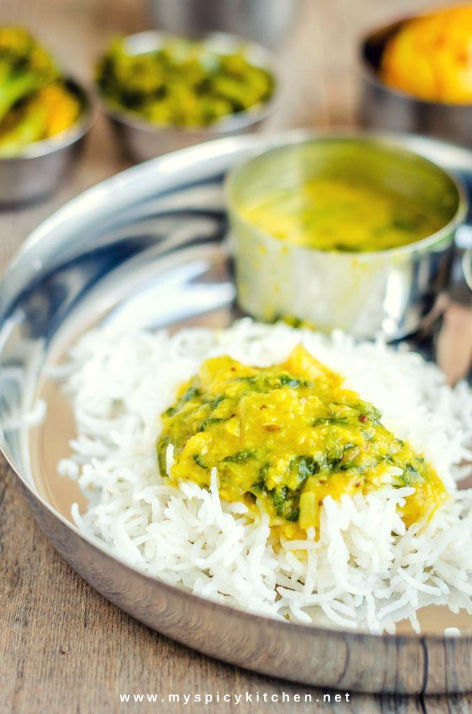 Rice with methi palak dal