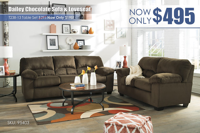 Dailey Chocolate Sofa & Loveseat_95403-38-35-T238