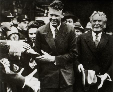 Charles A. Lindbergh and Ambassador Myron T. Herrick at the U.S. Embassy in Paris, France, May 22, 1927.