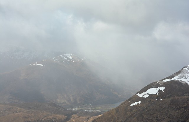 Hail over Kinlochleven.