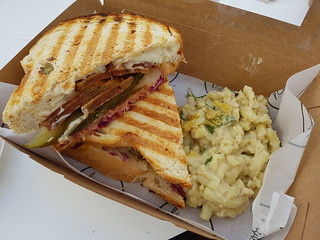 Reuben Sandwich and Mac and Cheese from Flora by Greenhouse at Love Child Miami