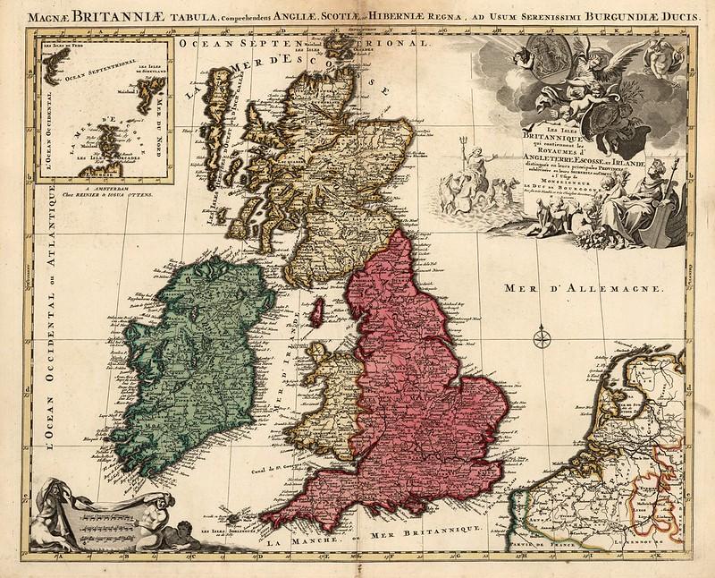 Nicolaum Visscher - Les Isles Britanniques qui contiennent les royaumes d'Angleterre (1740)
